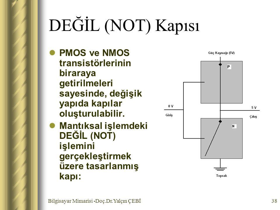 Bilgisayar Mimarisi -Doç.Dr.Yalçın ÇEBİ38 DEĞİL (NOT) Kapısı PMOS ve NMOS transistörlerinin biraraya getirilmeleri sayesinde, değişik yapıda kapılar o