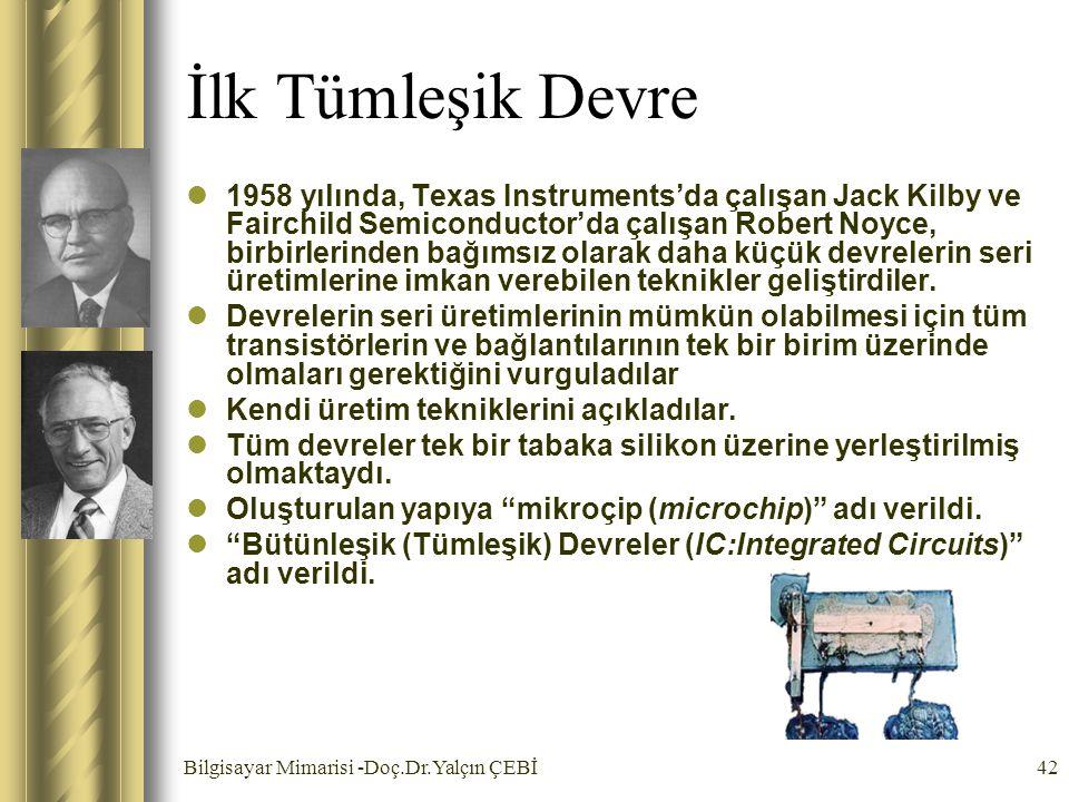 Bilgisayar Mimarisi -Doç.Dr.Yalçın ÇEBİ42 İlk Tümleşik Devre 1958 yılında, Texas Instruments'da çalışan Jack Kilby ve Fairchild Semiconductor'da çalış