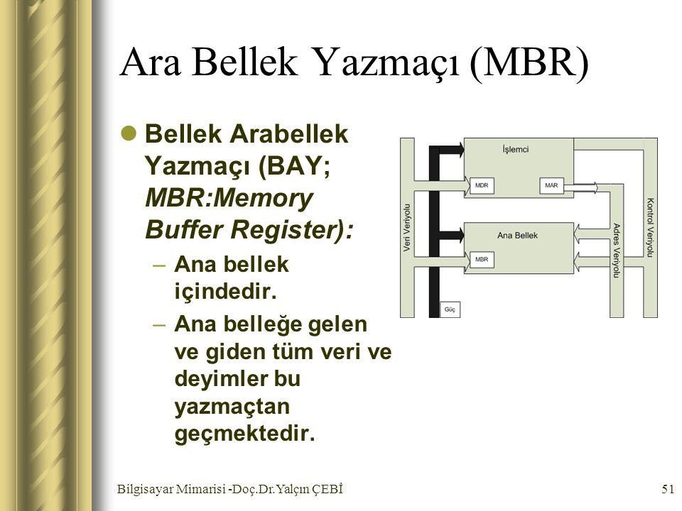 Bilgisayar Mimarisi -Doç.Dr.Yalçın ÇEBİ51 Ara Bellek Yazmaçı (MBR) Bellek Arabellek Yazmaçı (BAY; MBR:Memory Buffer Register): –Ana bellek içindedir.