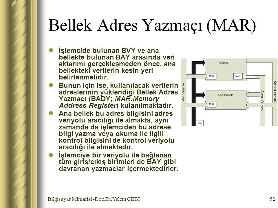 Bilgisayar Mimarisi -Doç.Dr.Yalçın ÇEBİ52 Bellek Adres Yazmaçı (MAR) İşlemcide bulunan BVY ve ana bellekte bulunan BAY arasında veri aktarımı gerçekle