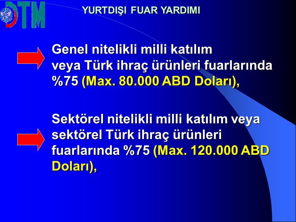 Genel nitelikli milli katılım veya Türk ihraç ürünleri fuarlarında %75 (Max. 80.000 ABD Doları), Sektörel nitelikli milli katılım veya sektörel Türk i