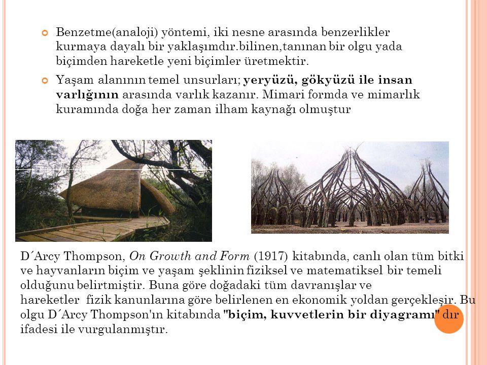 RONCHAMP ŞAPELİ ( LE COURBUSİER,P ARIS, F RANCE ) Le Corbusier'in şapeli yaratıcı bir analoji örneğidir.Bu şapelin çatısı yengeç kabuğundan yola çıkılarak tasarlanmıştır.