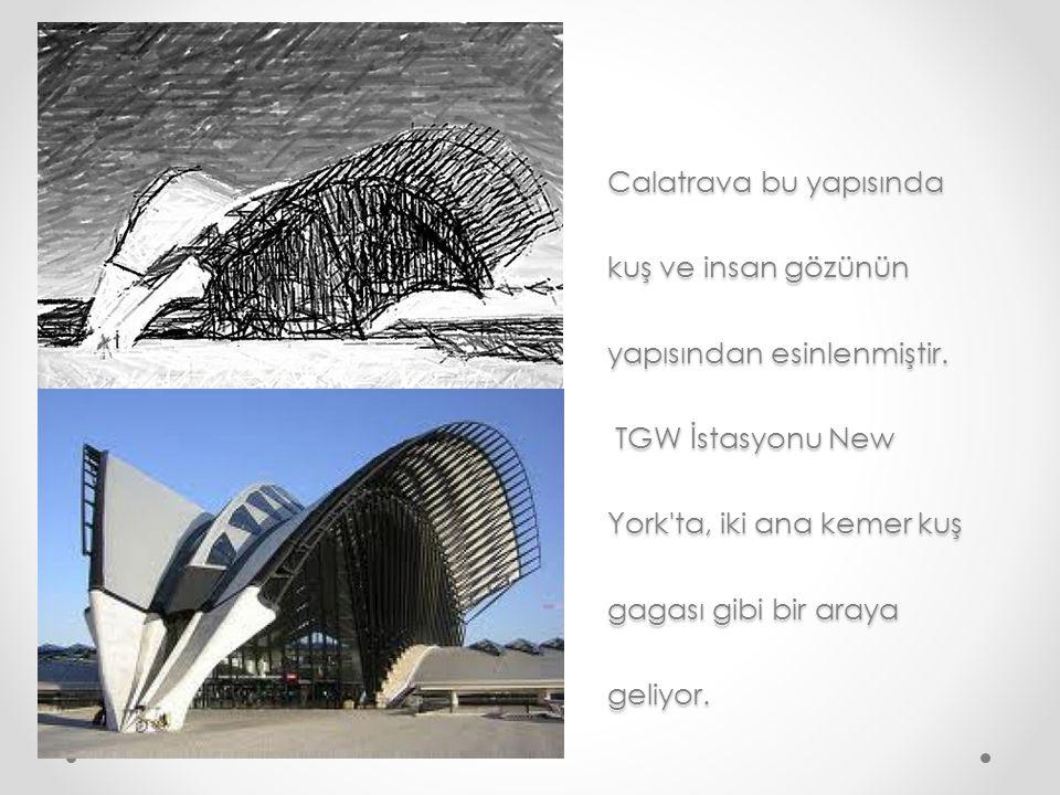 Calatrava bu yapısında kuş ve insan gözünün yapısından esinlenmiştir. TGW İstasyonu New York'ta, iki ana kemer kuş gagası gibi bir araya geliyor.