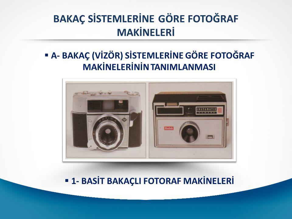 BAKAÇ SİSTEMLERİNE GÖRE FOTOĞRAF MAKİNELERİ  A- BAKAÇ (VİZÖR) SİSTEMLERİNE GÖRE FOTOĞRAF MAKİNELERİNİN TANIMLANMASI  1- BASİT BAKAÇLI FOTORAF MAKİNELERİ
