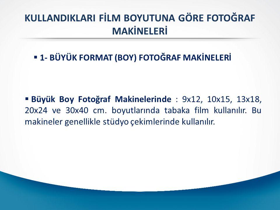 KULLANDIKLARI FİLM BOYUTUNA GÖRE FOTOĞRAF MAKİNELERİ  1- BÜYÜK FORMAT (BOY) FOTOĞRAF MAKİNELERİ  Büyük Boy Fotoğraf Makinelerinde : 9x12, 10x15, 13x18, 20x24 ve 30x40 cm.