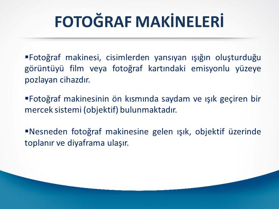 FOTOĞRAF MAKİNELERİ  Fotoğraf makinesi, cisimlerden yansıyan ışığın oluşturduğu görüntüyü film veya fotoğraf kartındaki emisyonlu yüzeye pozlayan cih