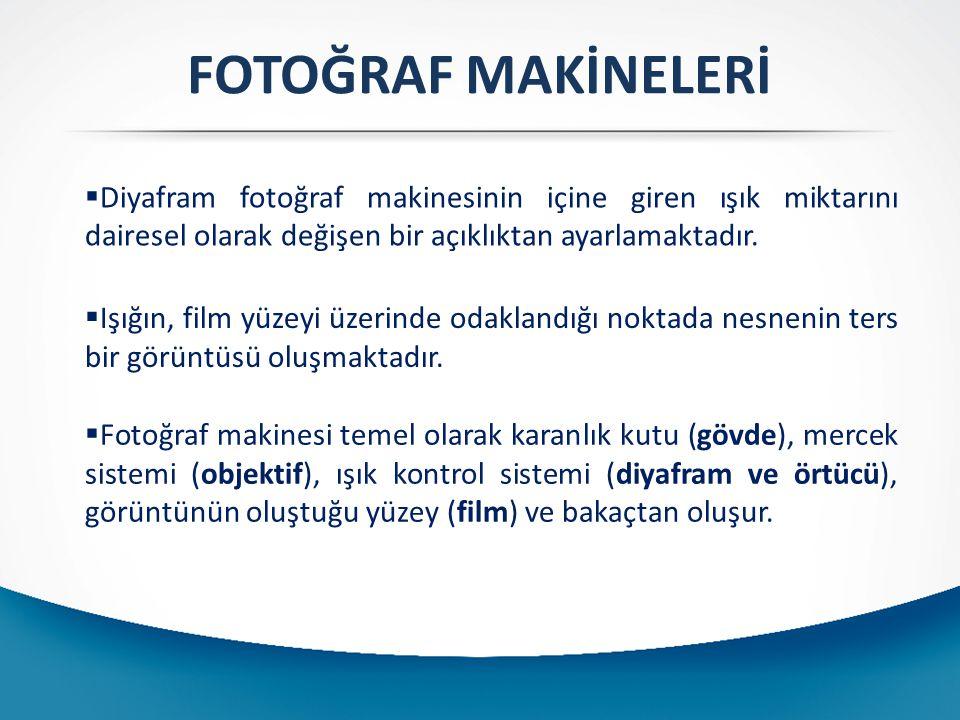 FOTOĞRAF MAKİNELERİ  Diyafram fotoğraf makinesinin içine giren ışık miktarını dairesel olarak değişen bir açıklıktan ayarlamaktadır.