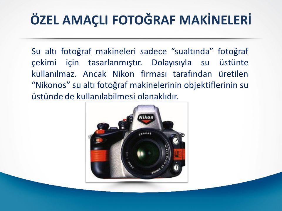 """ÖZEL AMAÇLI FOTOĞRAF MAKİNELERİ Su altı fotoğraf makineleri sadece """"sualtında"""" fotoğraf çekimi için tasarlanmıştır. Dolayısıyla su üstünte kullanılmaz"""