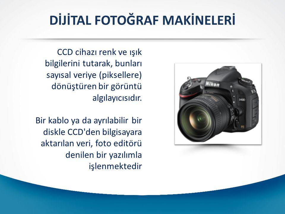 DİJİTAL FOTOĞRAF MAKİNELERİ CCD cihazı renk ve ışık bilgilerini tutarak, bunları sayısal veriye (piksellere) dönüştüren bir görüntü algılayıcısıdır.