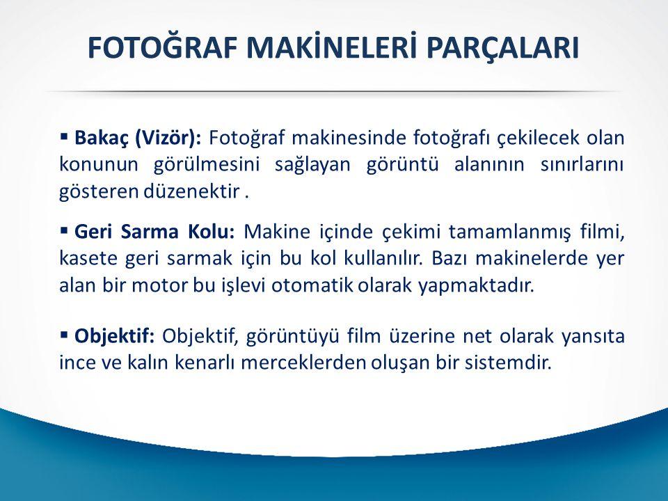  Bakaç (Vizör): Fotoğraf makinesinde fotoğrafı çekilecek olan konunun görülmesini sağlayan görüntü alanının sınırlarını gösteren düzenektir.  Geri S