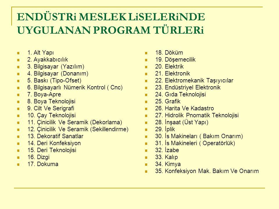 ENDÜSTRi MESLEK LiSELERiNDE UYGULANAN PROGRAM TÜRLERi 1.