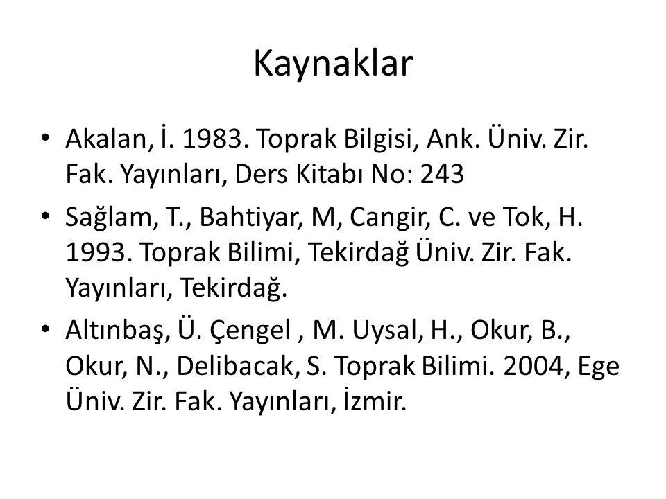Kaynaklar Akalan, İ. 1983. Toprak Bilgisi, Ank. Üniv. Zir. Fak. Yayınları, Ders Kitabı No: 243 Sağlam, T., Bahtiyar, M, Cangir, C. ve Tok, H. 1993. To