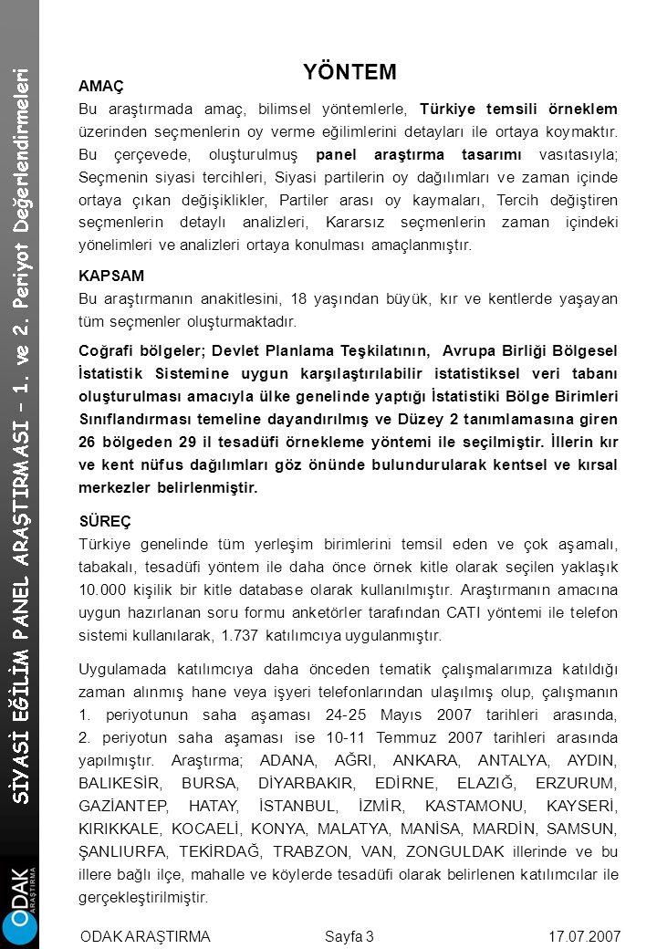 AMAÇ Bu araştırmada amaç, bilimsel yöntemlerle, Türkiye temsili örneklem üzerinden seçmenlerin oy verme eğilimlerini detayları ile ortaya koymaktır.