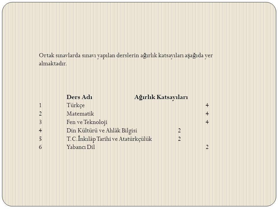 Ortak sınavlarda sınavı yapılan derslerin a ğ ırlık katsayıları a ş a ğ ıda yer almaktadır. Ders Adı A ğ ırlık Katsayıları 1 Türkçe 4 2 Matematik 4 3
