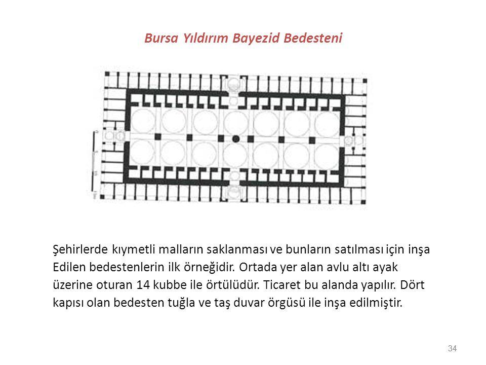 34 Bursa Yıldırım Bayezid Bedesteni Şehirlerde kıymetli malların saklanması ve bunların satılması için inşa Edilen bedestenlerin ilk örneğidir. Ortada