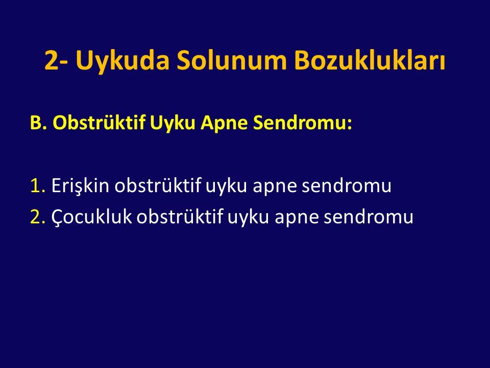 2- Uykuda Solunum Bozuklukları B. Obstrüktif Uyku Apne Sendromu: 1. Erişkin obstrüktif uyku apne sendromu 2. Çocukluk obstrüktif uyku apne sendromu