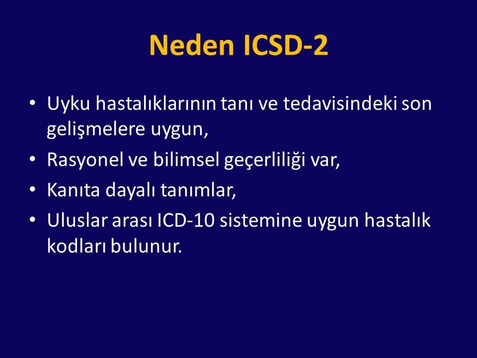 ICSD-2 1.İnsomniler 2.Uykuda solunum bozuklukları 3.Solunum bozukluğuna bağlı olmayan hipersomniler 4.Sirkadyen ritim uyku bozuklukları 5.Parasomniler 6.Uyku ile ilişkili hareket bozuklukları 7.İzole semptomlar, normal varyantlar 8.Diğer uyku bozuklukları