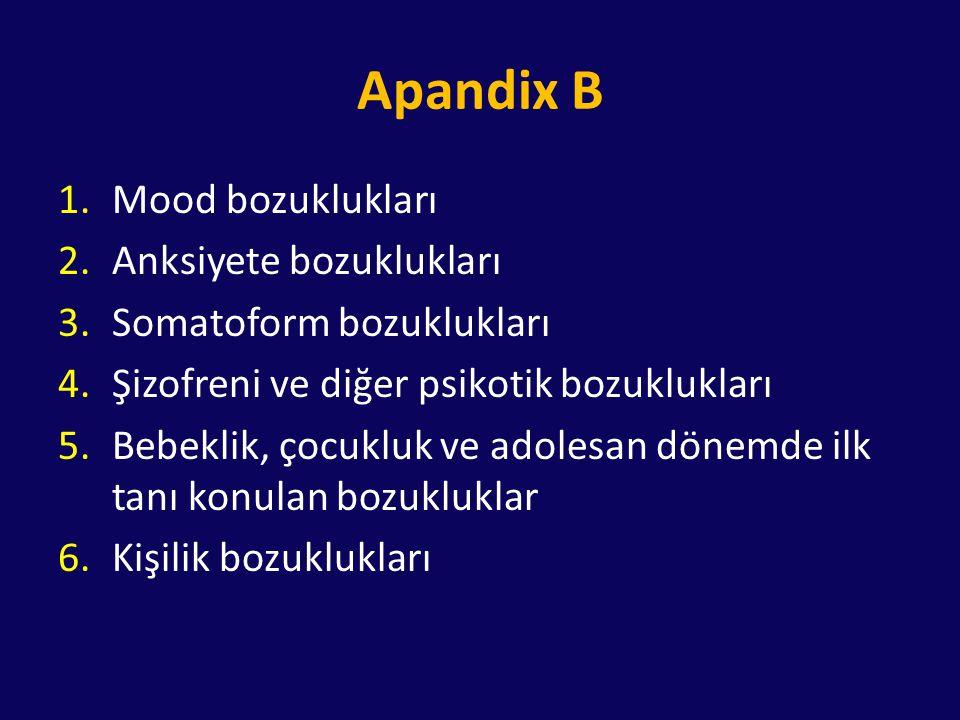 Apandix B 1.Mood bozuklukları 2.Anksiyete bozuklukları 3.Somatoform bozuklukları 4.Şizofreni ve diğer psikotik bozuklukları 5.Bebeklik, çocukluk ve ad