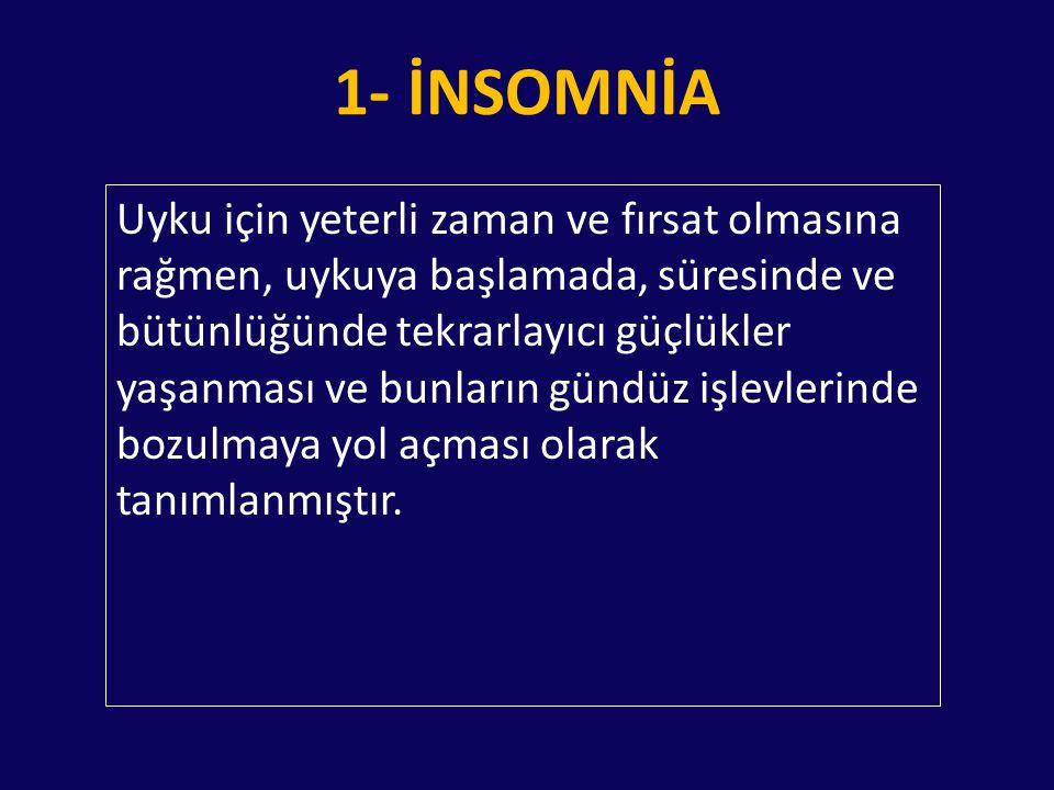 1- İNSOMNİA 1.Akut insomnia 2.Psikofizyolojik insomnia 3.Paradoksal insomnia 4.İdiopatik insomnia 5.Mental bozukluklara bağlı insomnia 6.Uyku hijyen yetersizliği 7.Çocukluk çağı davranışsal insomnia