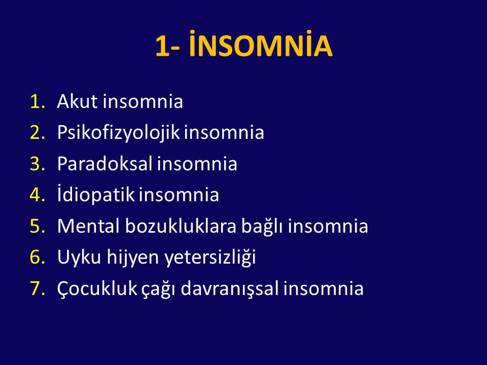 1- İNSOMNİA 1.Akut insomnia 2.Psikofizyolojik insomnia 3.Paradoksal insomnia 4.İdiopatik insomnia 5.Mental bozukluklara bağlı insomnia 6.Uyku hijyen y