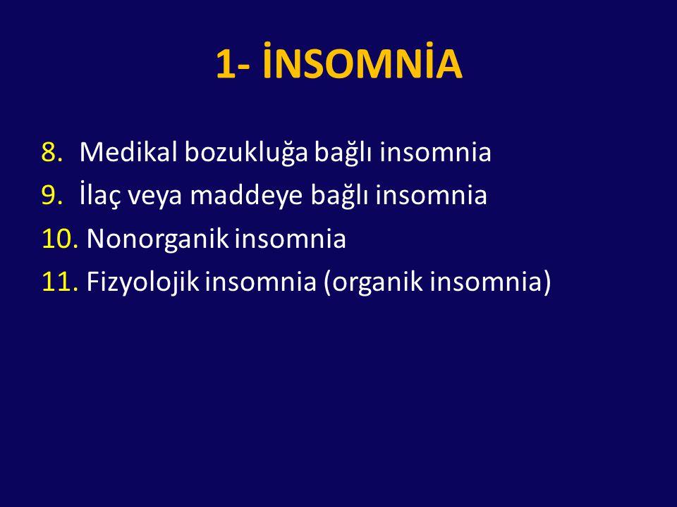 1- İNSOMNİA 8.Medikal bozukluğa bağlı insomnia 9.İlaç veya maddeye bağlı insomnia 10. Nonorganik insomnia 11. Fizyolojik insomnia (organik insomnia)