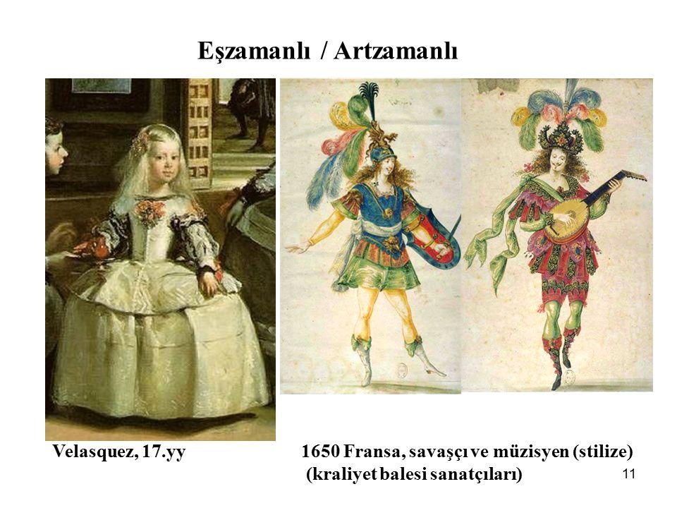 11 Eşzamanlı / Artzamanlı Velasquez, 17.yy 1650 Fransa, savaşçı ve müzisyen (stilize) (kraliyet balesi sanatçıları)