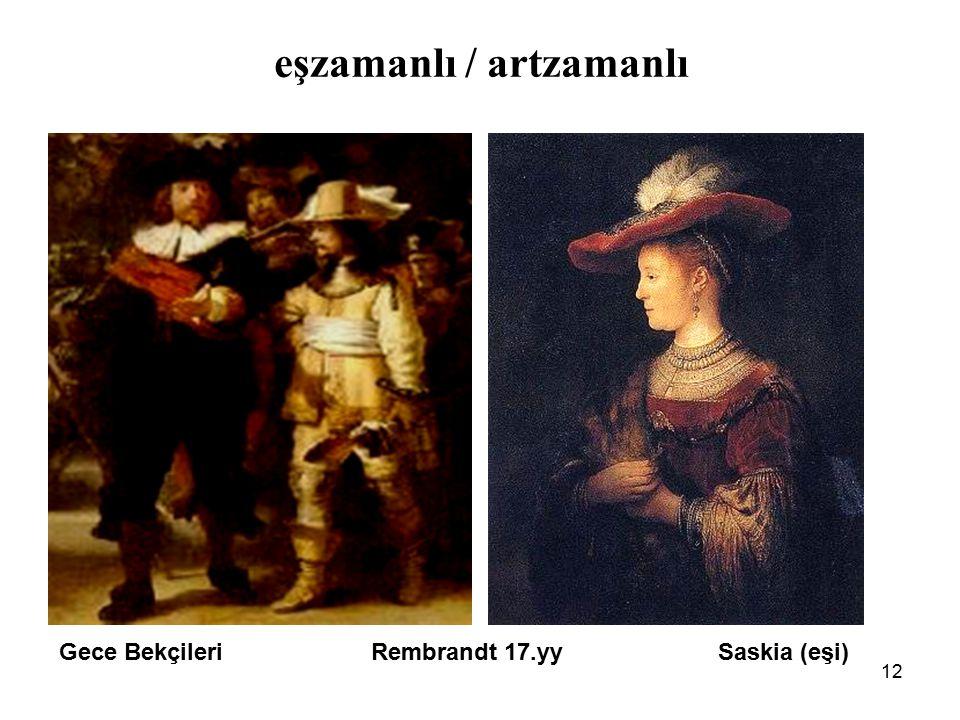 12 eşzamanlı / artzamanlı Gece Bekçileri Rembrandt 17.yy Saskia (eşi)