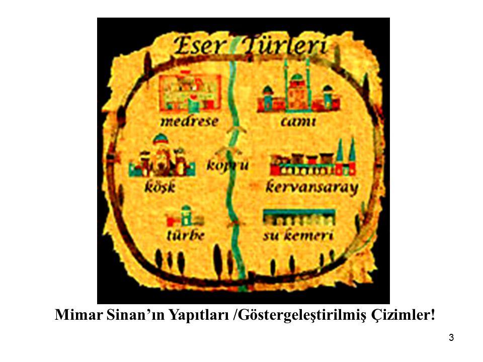 3 Mimar Sinan'ın Yapıtları /Göstergeleştirilmiş Çizimler!