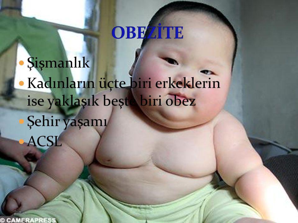 Şişmanlık Kadınların üçte biri erkeklerin ise yaklaşık beşte biri obez Şehir yaşamı ACSL