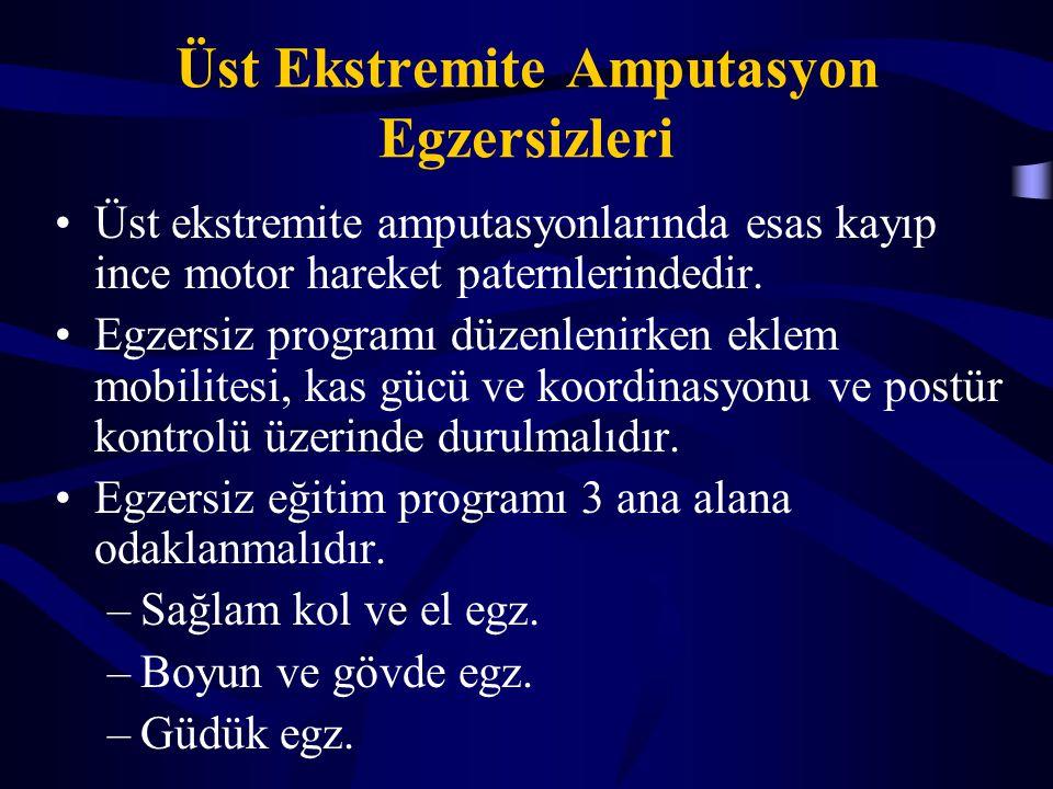 Üst Ekstremite Amputasyon Egzersizleri Üst ekstremite amputasyonlarında esas kayıp ince motor hareket paternlerindedir. Egzersiz programı düzenlenirke