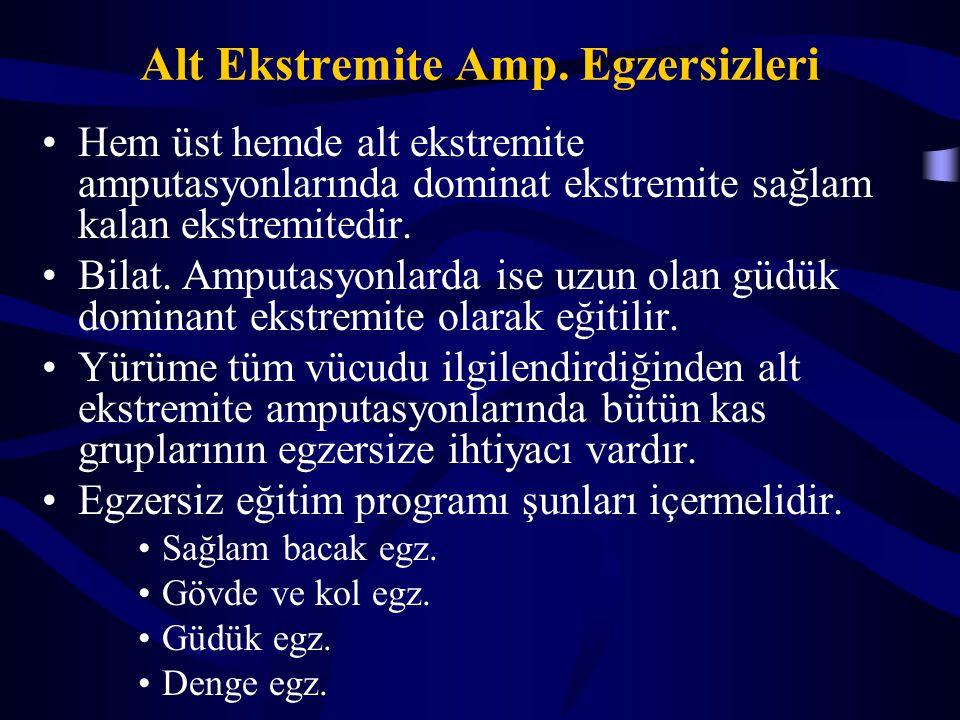Alt Ekstremite Amp. Egzersizleri Hem üst hemde alt ekstremite amputasyonlarında dominat ekstremite sağlam kalan ekstremitedir. Bilat. Amputasyonlarda