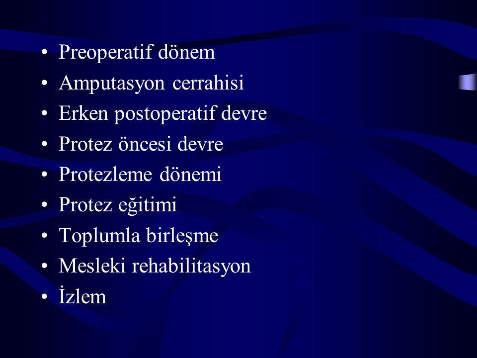 Preoperatif dönem Amputasyon cerrahisi Erken postoperatif devre Protez öncesi devre Protezleme dönemi Protez eğitimi Toplumla birleşme Mesleki rehabil