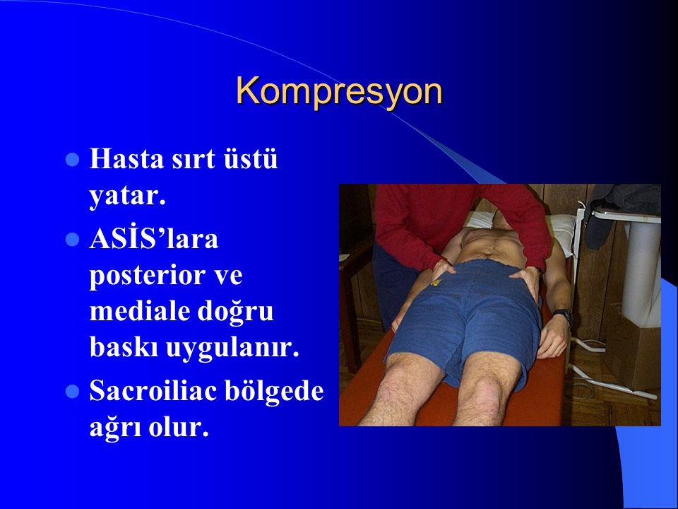 Kompresyon Hasta sırt üstü yatar. ASİS'lara posterior ve mediale doğru baskı uygulanır. Sacroiliac bölgede ağrı olur.