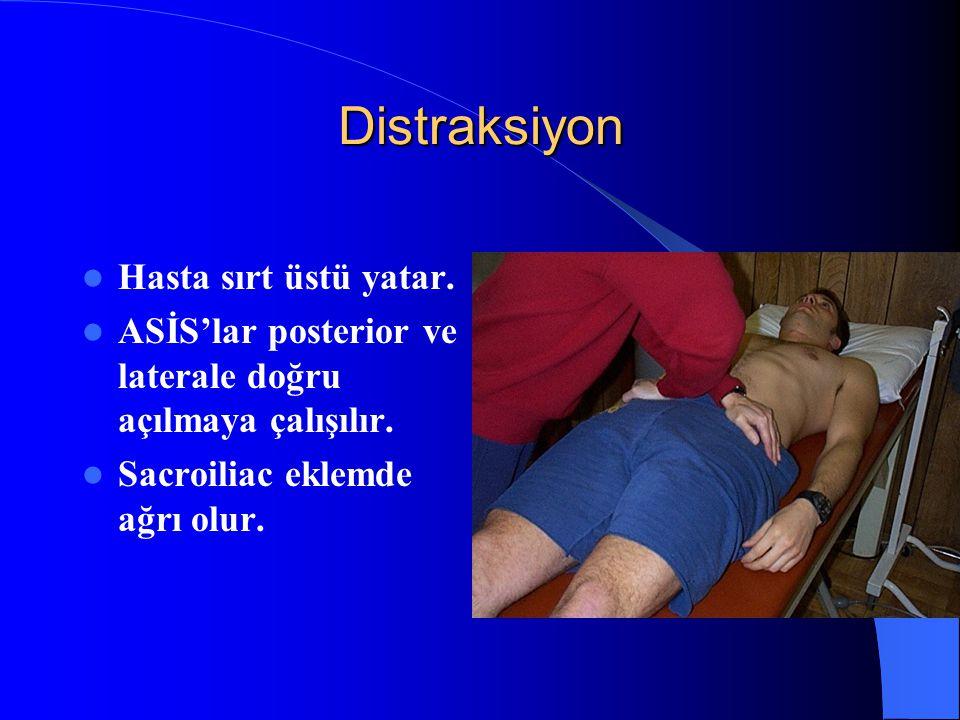 Distraksiyon Hasta sırt üstü yatar. ASİS'lar posterior ve laterale doğru açılmaya çalışılır. Sacroiliac eklemde ağrı olur.