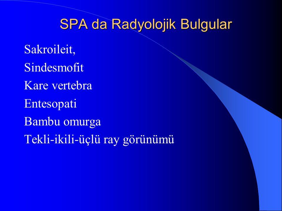 SPA da Radyolojik Bulgular Sakroileit, Sindesmofit Kare vertebra Entesopati Bambu omurga Tekli-ikili-üçlü ray görünümü