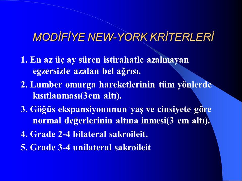 MODİFİYE NEW-YORK KRİTERLERİ MODİFİYE NEW-YORK KRİTERLERİ 1. En az üç ay süren istirahatle azalmayan egzersizle azalan bel ağrısı. 2. Lumber omurga ha