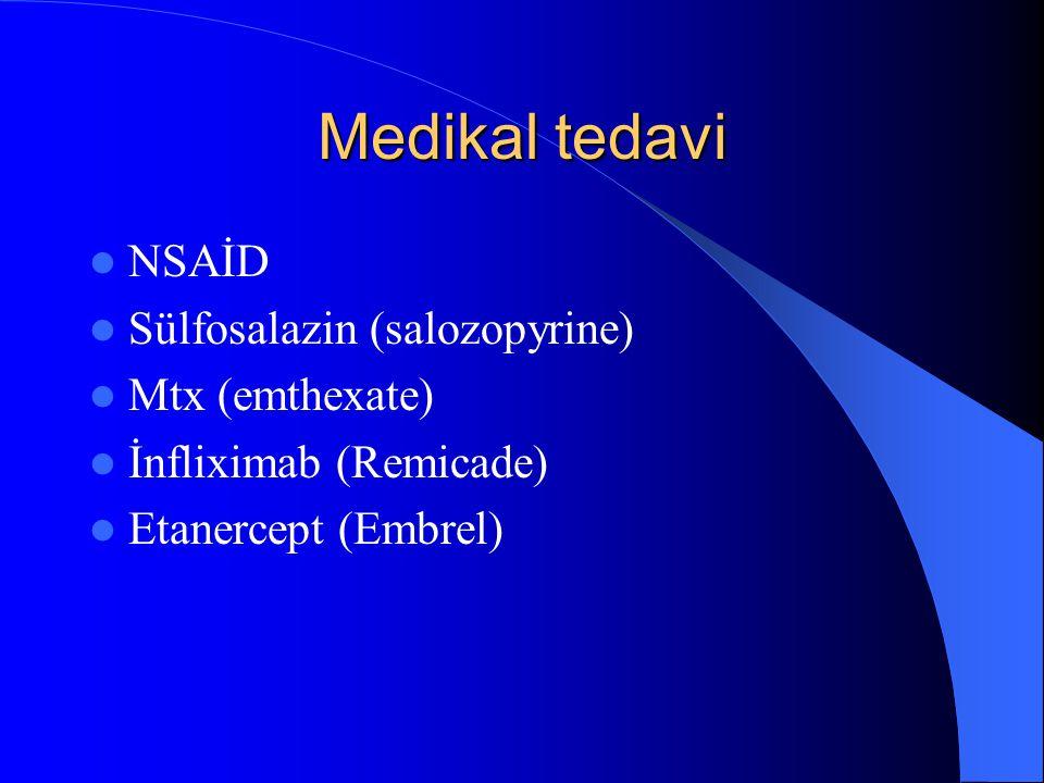 Medikal tedavi NSAİD Sülfosalazin (salozopyrine) Mtx (emthexate) İnfliximab (Remicade) Etanercept (Embrel)