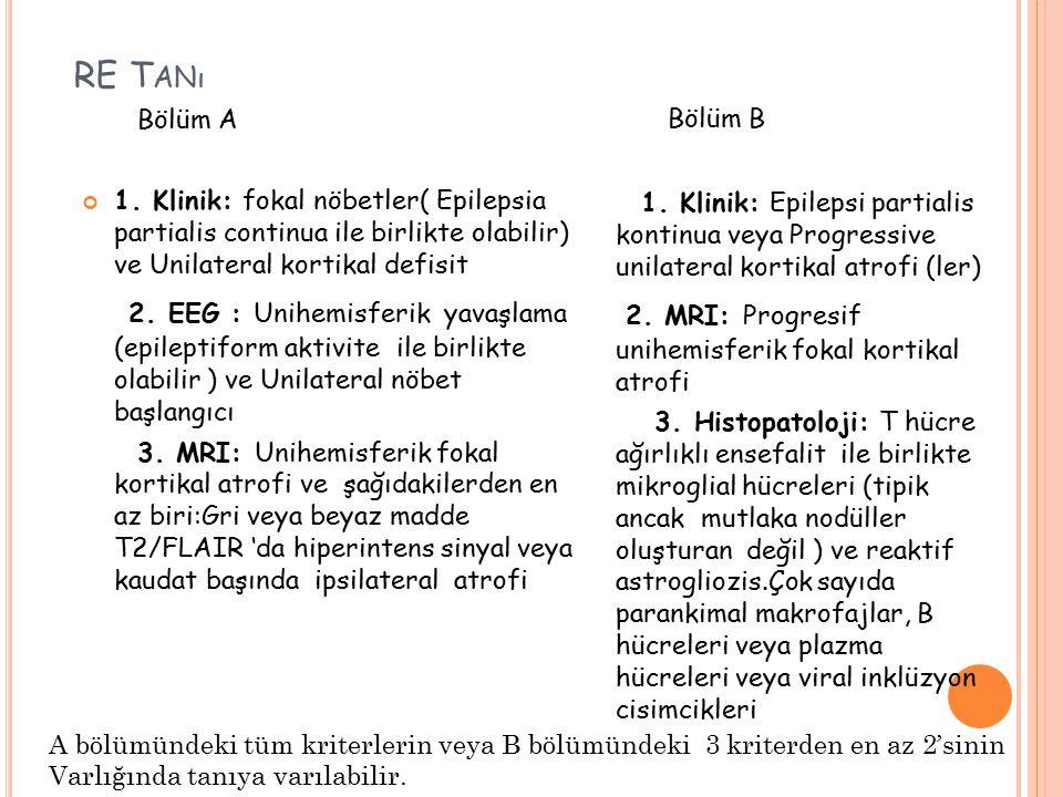 RE T ANı Bölüm A 1. Klinik: fokal nöbetler( Epilepsia partialis continua ile birlikte olabilir) ve Unilateral kortikal defisit 2. EEG : Unihemisferik
