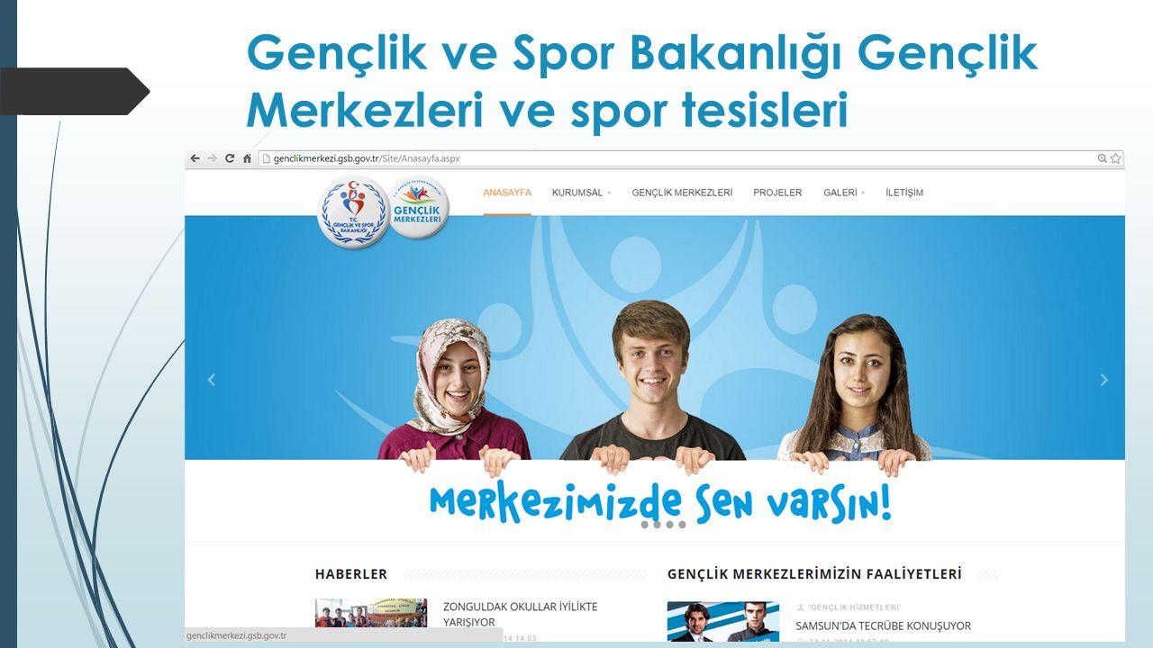 Gençlik ve Spor Bakanlığı Gençlik Merkezleri ve spor tesisleri
