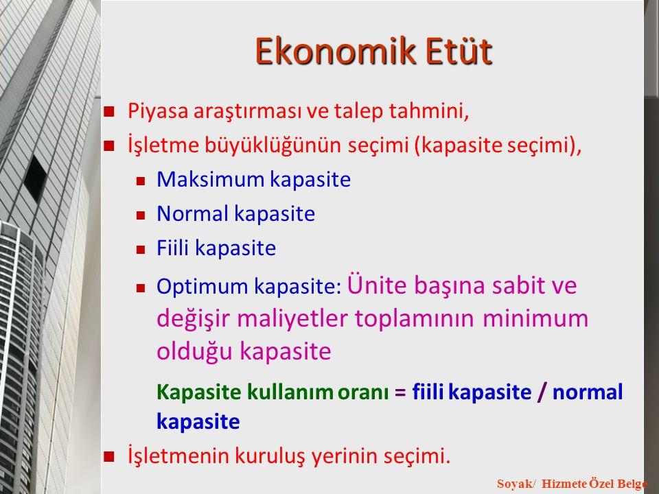 Soyak/ Hizmete Özel Belge Ekonomik Etüt Piyasa araştırması ve talep tahmini, İşletme büyüklüğünün seçimi (kapasite seçimi), Maksimum kapasite Normal k