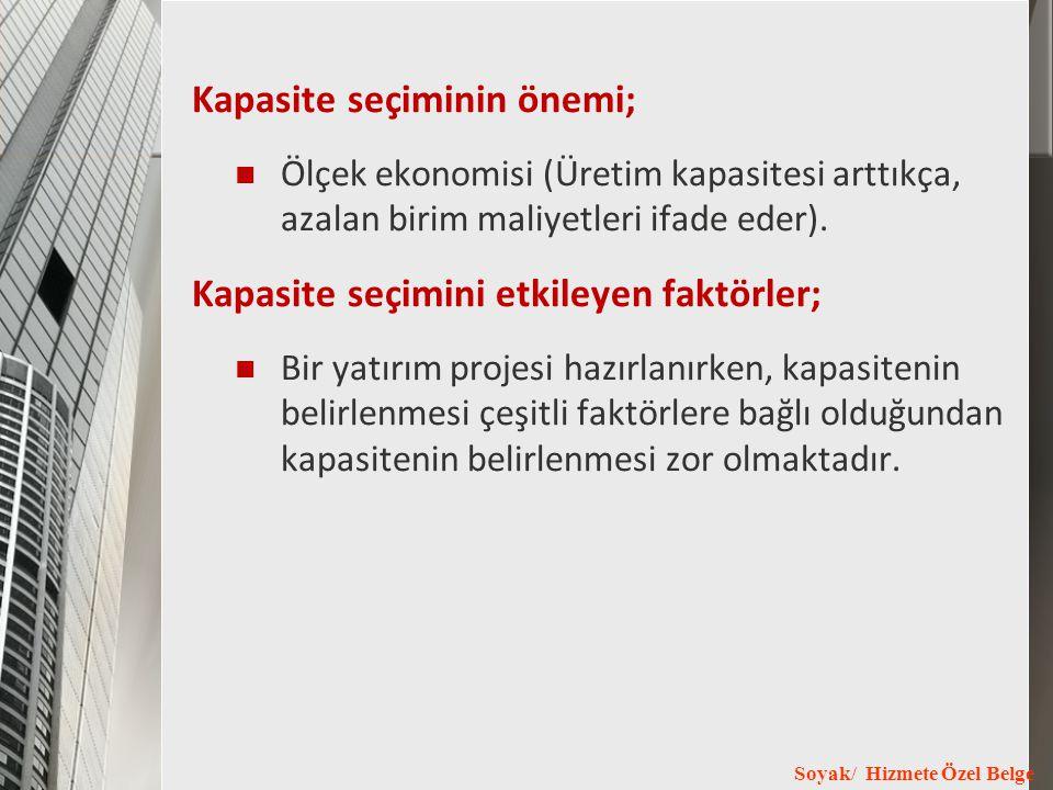 Soyak/ Hizmete Özel Belge Kapasite seçiminin önemi; Ölçek ekonomisi (Üretim kapasitesi arttıkça, azalan birim maliyetleri ifade eder). Kapasite seçimi
