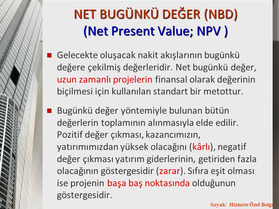 Soyak/ Hizmete Özel Belge NET BUGÜNKÜ DEĞER (NBD) (Net Present Value; NPV ) Gelecekte oluşacak nakit akışlarının bugünkü değere çekilmiş değerleridir.