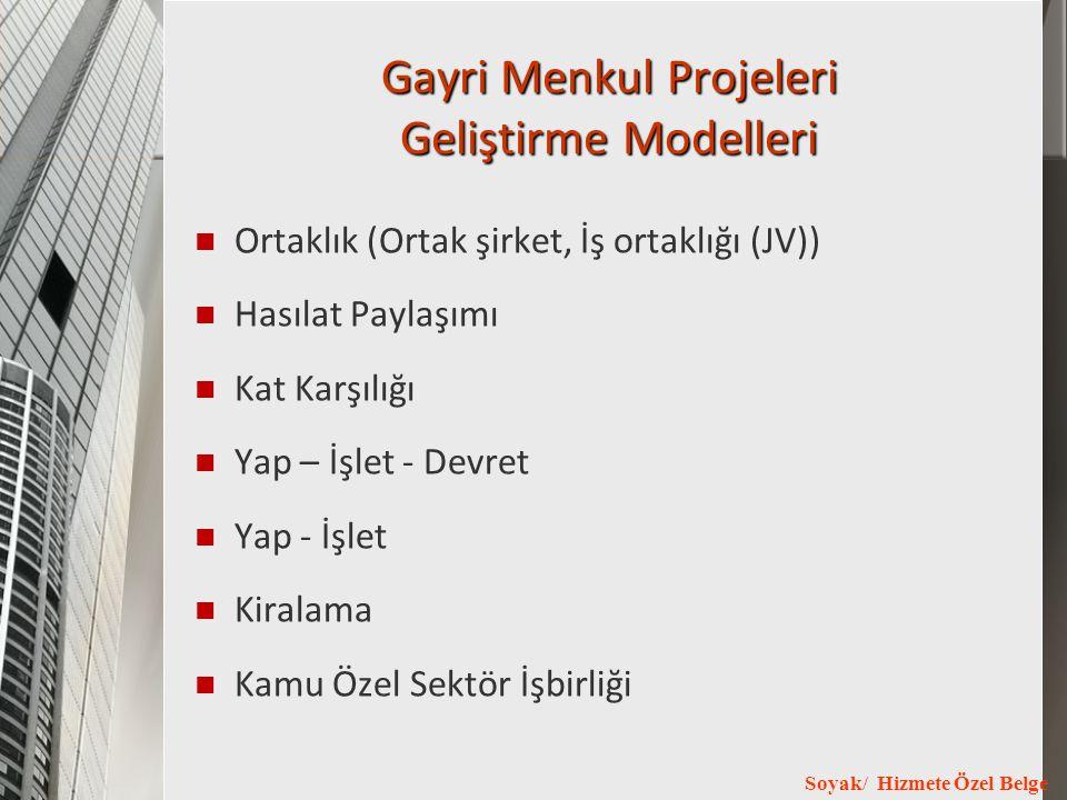 Soyak/ Hizmete Özel Belge Gayri Menkul Projeleri Geliştirme Modelleri Ortaklık (Ortak şirket, İş ortaklığı (JV)) Hasılat Paylaşımı Kat Karşılığı Yap –