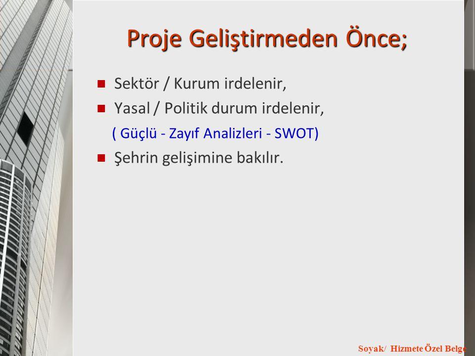Soyak/ Hizmete Özel Belge Proje Geliştirmeden Önce; Sektör / Kurum irdelenir, Yasal / Politik durum irdelenir, ( Güçlü - Zayıf Analizleri - SWOT) Şehr