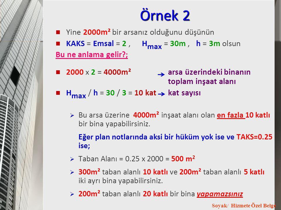 Soyak/ Hizmete Özel Belge Örnek 2 Yine 2000m² bir arsanız olduğunu düşünün KAKS = Emsal = 2, H max = 30m, h = 3m olsun Bu ne anlama gelir?; 2000 x 2 =