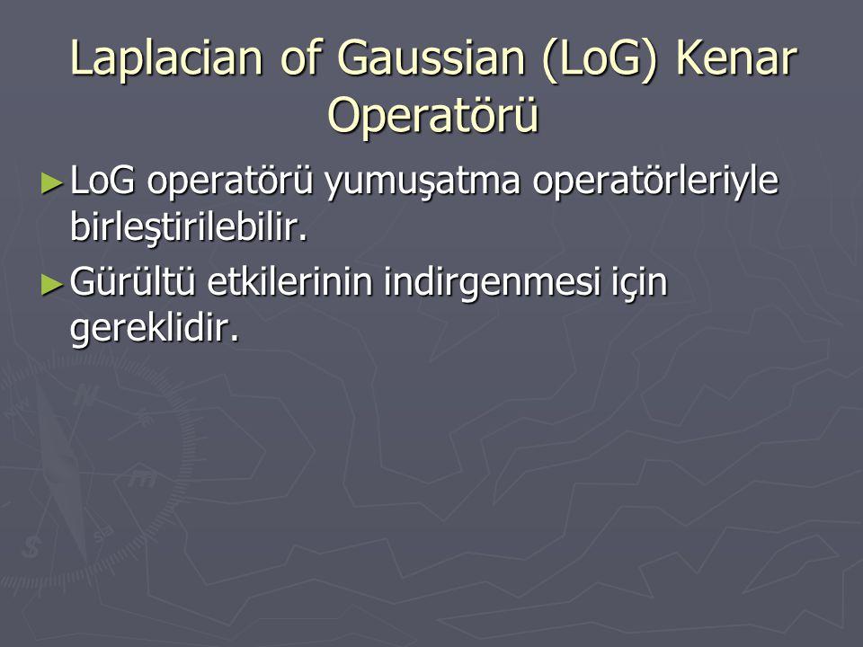 Laplacian of Gaussian (LoG) Kenar Operatörü ► LoG operatörü yumuşatma operatörleriyle birleştirilebilir. ► Gürültü etkilerinin indirgenmesi için gerek