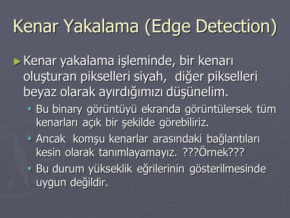 Kenar Yakalama (Edge Detection) ► Kenar yakalama işleminde, bir kenarı oluşturan pikselleri siyah, diğer pikselleri beyaz olarak ayırdığımızı düşüneli