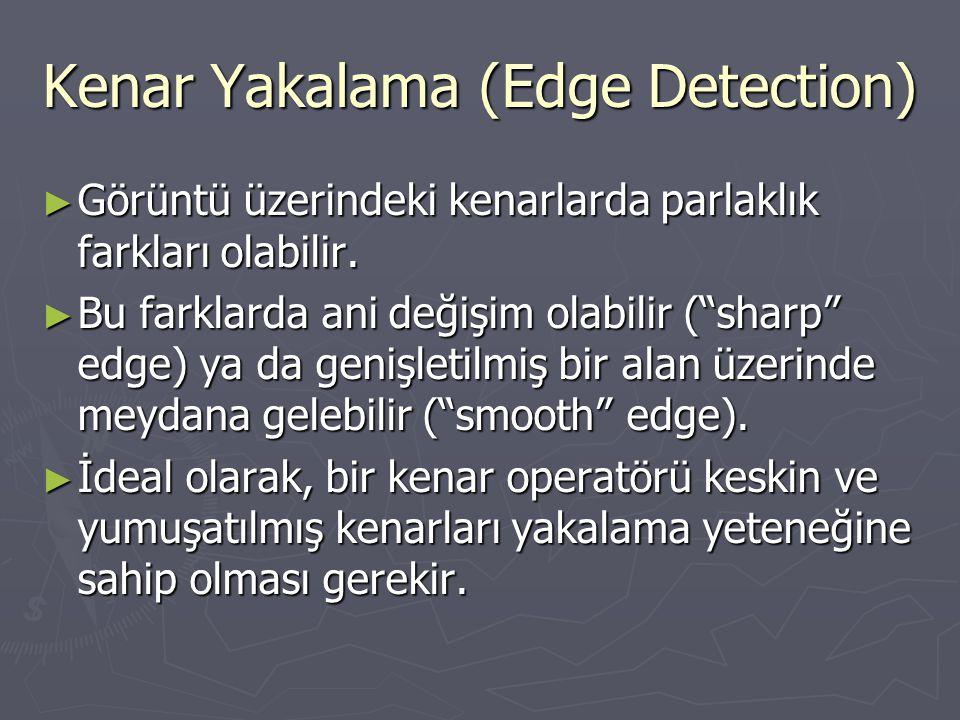 """Kenar Yakalama (Edge Detection) ► Görüntü üzerindeki kenarlarda parlaklık farkları olabilir. ► Bu farklarda ani değişim olabilir (""""sharp"""" edge) ya da"""