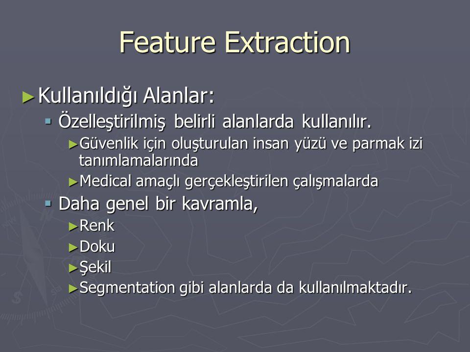 Feature Extraction ► Kullanıldığı Alanlar:  Özelleştirilmiş belirli alanlarda kullanılır. ► Güvenlik için oluşturulan insan yüzü ve parmak izi tanıml