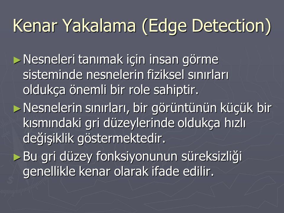 Kenar Yakalama (Edge Detection) ► Nesneleri tanımak için insan görme sisteminde nesnelerin fiziksel sınırları oldukça önemli bir role sahiptir. ► Nesn